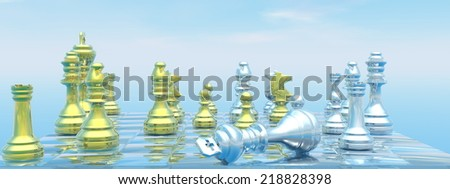 Chessboard with silver king down for chackmate blue sky - 3D render - stock photo