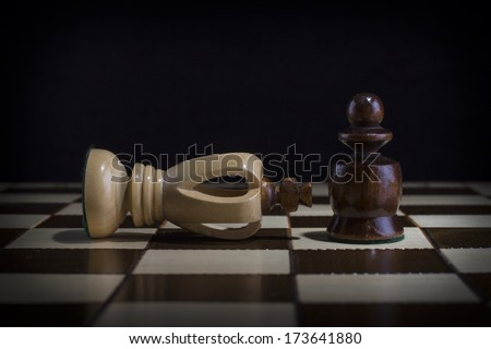 Chessmen. A pawn and the won king - stock photo