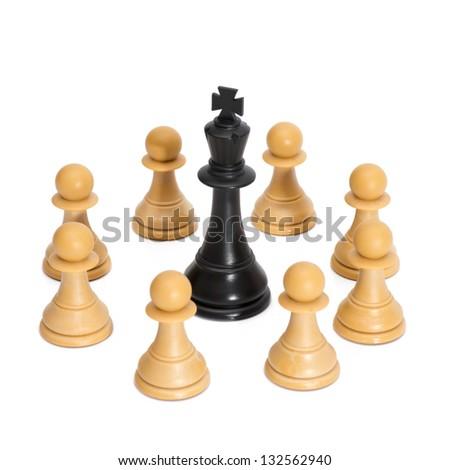 Chessmen Isolated on White - stock photo