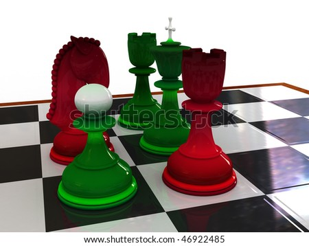 Chessmen on a chessboard