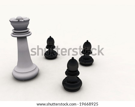 Chessmen on a smooth surface - digital artwork
