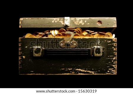 chest full of gold - stock photo
