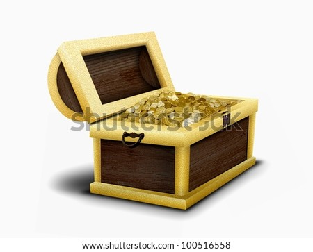 Chest full of gold coins - stock photo