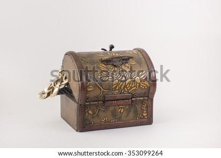 Chest full of gold, isolated. Black background