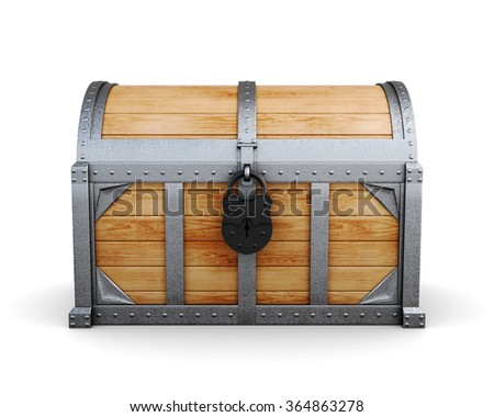 Chest in a castle isolated on a white background. 3d render image - stock photo