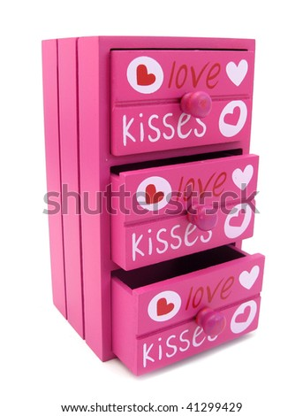 Chest of drawers pink with words of love and hearts - stock photo