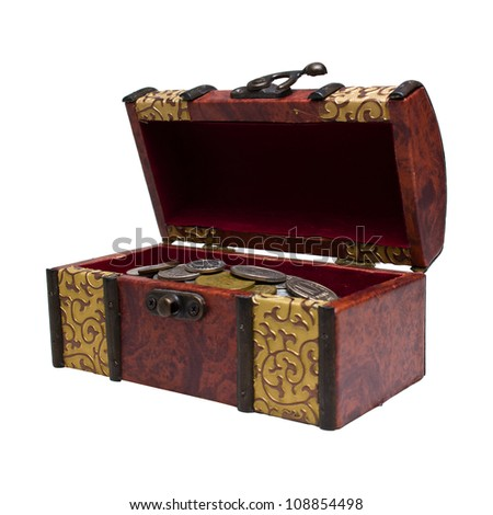 chest with coins - stock photo