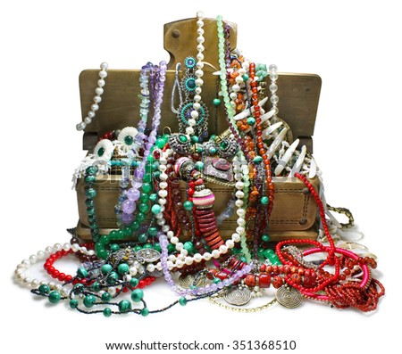 Chest with jewelry - stock photo