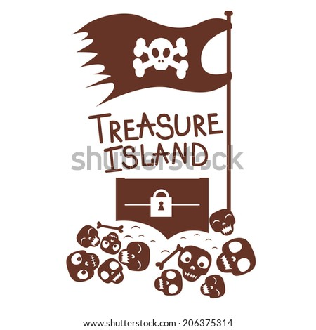 chest with treasures and skulls design  Raster version - stock photo