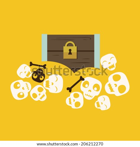 chest with treasures and skulls Raster version - stock photo