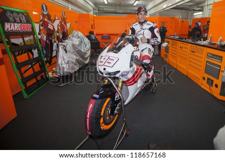 CHESTE - NOVEMBER 13: Marc Marquez during first test of MotoGP for 2013, on November 13, 2012, in Ricardo Tormo Circuit of Cheste, Valencia, Spain - stock photo