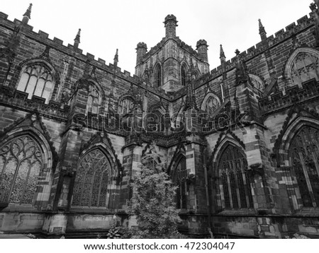 Chester Anglican Cathedral church in Chester, UK in black and white