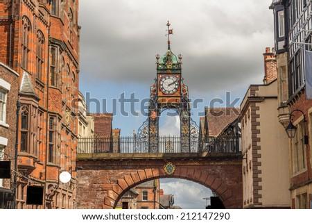 Chester clock and bridge  - stock photo