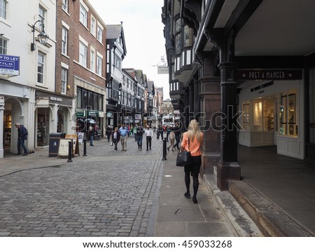 CHESTER, UK - CIRCA JUNE 2016: View of the old city centre