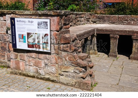 CHESTER, UNITED KINGDOM - JULY 22, 2014 - Ruins of the Roman baths in the Roman Gardens, Chester, Cheshire, England, UK, Western Europe, July 22, 2014.