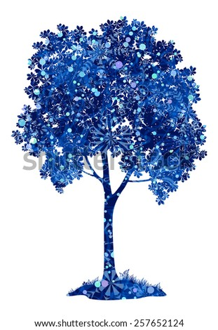 Chestnut blue tree with leaves, grass and snowflakes, a symbol of winter and Christmas, isolated on white background. - stock photo