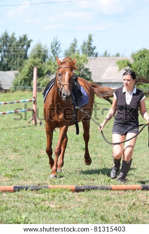 Chestnut horse and woman leading her - stock photo