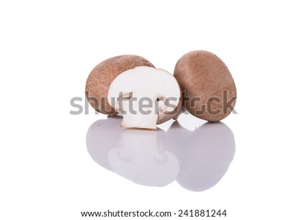 Chestnut Mushrooms Isolated on a White Background.  - stock photo