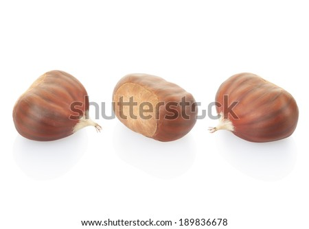 Chestnuts collection isolated on white, clipping path included