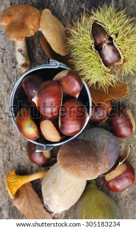 chestnuts figs and mushrooms on old plank - stock photo