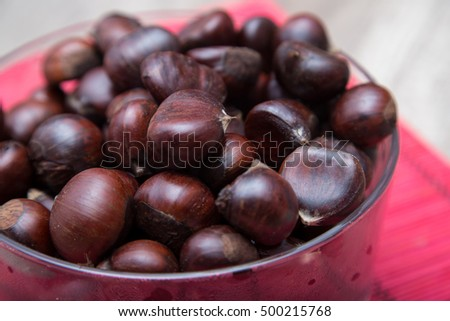 Chestnuts in a glass bowl