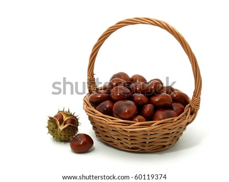 Chestnuts in the basket - stock photo