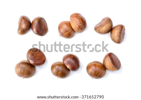 chestnuts on white, top view - stock photo