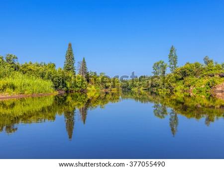 Chet river in the Tomsk region in western Siberia - stock photo