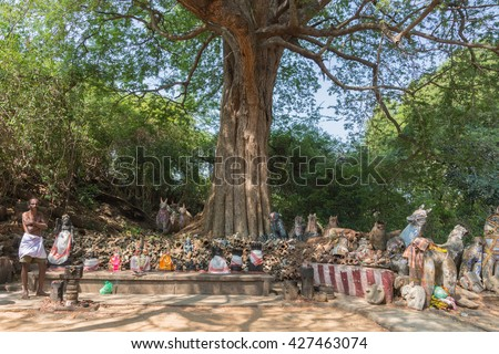 Chettinad, India - October 16, 2013: Ayyanar, village protector Horse shrine of Namunasamudran. Altar with priest standing to the side. Forest environment. - stock photo