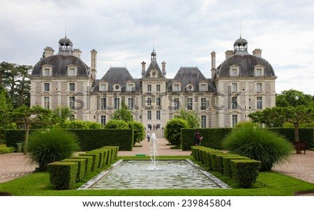 CHEVERNY, FRANCE - MAY 24, 2014: Chateau de Cheverny, a famous castle of the Loire valley in the departement Loir-et-Cher in France. - stock photo