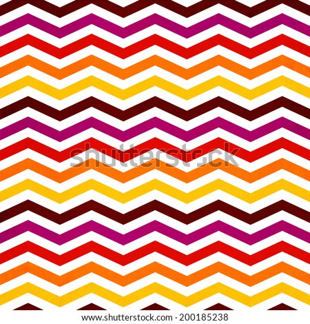 Chevron seamless background with zig zag red, yellow, pink and orange stripes on white background