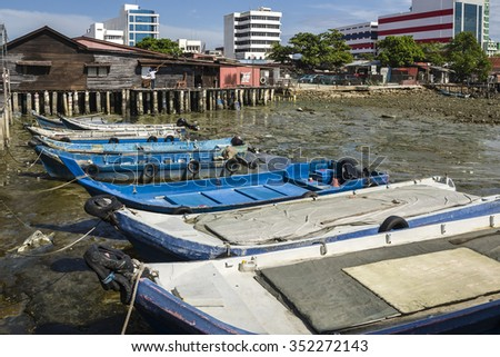 Chew Village Jetty, Penang, Malaysia - Chew Jetty, one of the Clan Jetties in historic George Town, Penang, Malaysia.