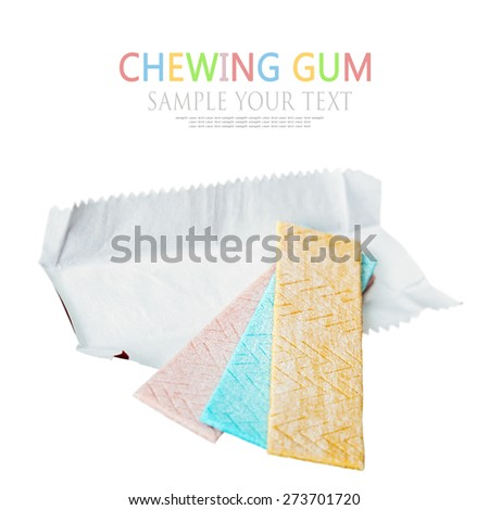 chewing gum different flavors isolated on white background. Shallow depth of field, focus on the middle of chewing gum - stock photo