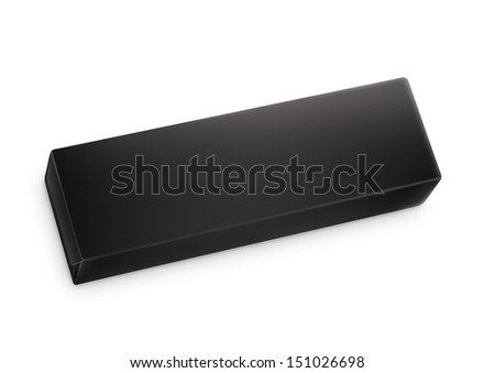 Chewing gum package in three-quarter. Packing for the isolation of the product on a white background with reflections and soldering black color  - stock photo