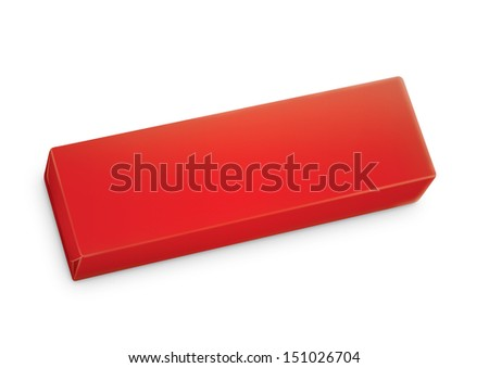 Chewing gum package in three-quarter. Packing for the isolation of the product on a white background with reflections and soldering red color  - stock photo