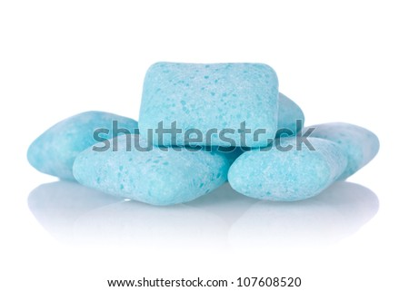 chewing gum with reflection on white background - stock photo