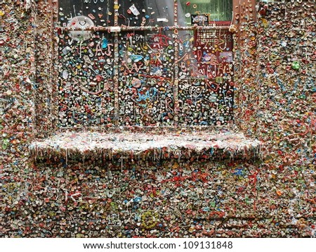 Chewing gums on a theatre's wall in Seattle - stock photo