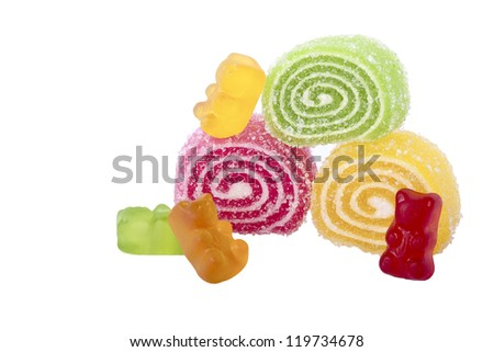 chewy candy and jelly on white background - stock photo