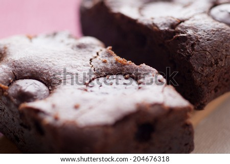 Chewy Fudge chocolate chip Homemade Brownies - stock photo