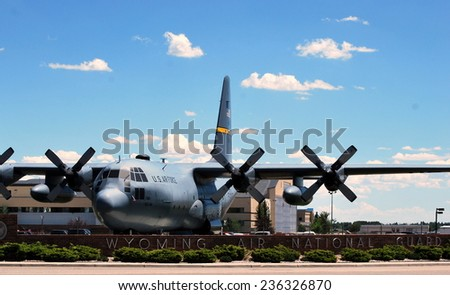 CHEYENNE, WY - JULY 18, 2012: Air national guard Hercules C-130 aircraft landed in Cheyenne, Wy, July 18, 2012. - stock photo
