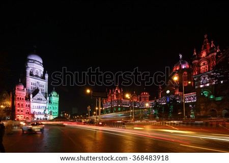 Chhatrapati Shivaji Terminus (CST) formerly Victoria Terminus in Mumbai, India is a UNESCO World Heritage Site Circa 26, January 2016 - stock photo