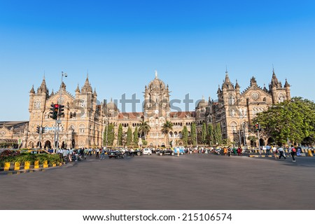Chhatrapati Shivaji Terminus (CST) is a UNESCO World Heritage Site and an historic railway station in Mumbai, India - stock photo