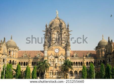 Chhatrapati Shivaji Terminus previously called Victoria Terminus - stock photo