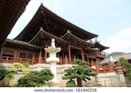 Chi Lin Nunnery, a Buddhist Monastery in Hong Kong, China. - stock photo