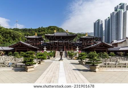Chi lin Nunnery, Tang dynasty style temple, Hong Kong - stock photo