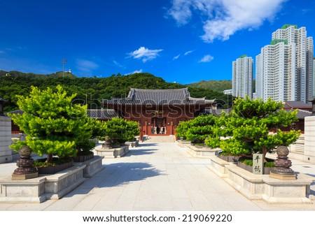 Chi lin Nunnery, Tang dynasty style temple, Hong Kong, China - stock photo
