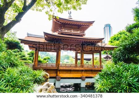 Chi lin temple in nan lian garden in hong kong - stock photo