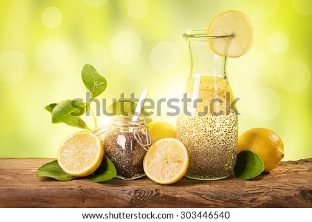 Chia fresca natural energy drink - stock photo