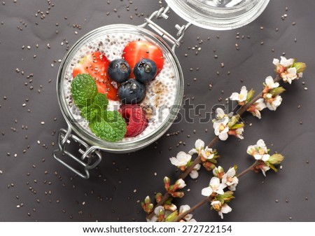 Chia pudding with coconut milk and fresh berries. top view - stock photo