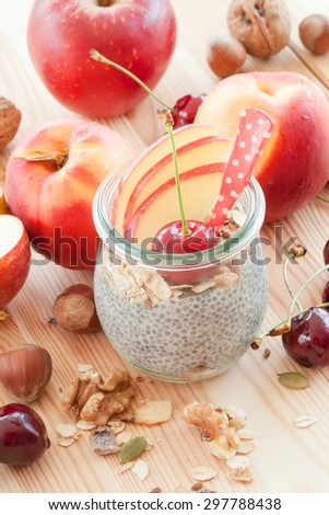 Chia Pudding with fresh fruits in vintage jars